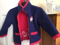 Girl's Shire Classic Horse/Pony Blue and Pink Thick Fleece Coat - Age 4-5