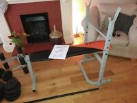 Exercise bench plus barbell and dumbbell set-Gym