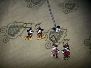 Disney Mickey Mouse and Minnie Mouse earrings /necklace