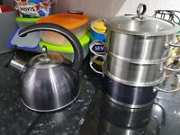 Stove top whistling kettle and steamer