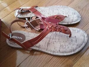 New Brown Flat Sandals Size 10
