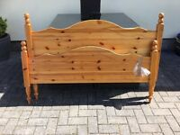 Double size pine wooden head board and end board