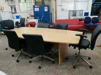 Large boardroom table +6 leather chairs