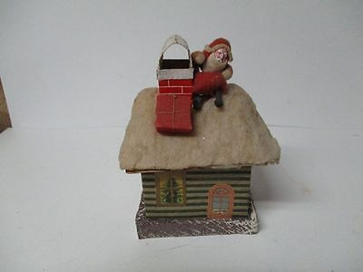 Beautiful Old Spun Cotton Compo Santa Atop House Christmas Candy Container