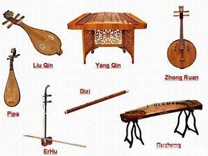 Chinese instrs: guzheng pipa erhu, yangqin guqin dizi hulusi