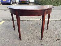 Gorgeous Antique Mahogany Half Moon Table