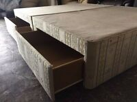 KING SIZE DIVAN BED BASE WITH STORAGE DRAWS WHEELS & KING SIZE MATTRESS FIRM & STRONG FREE DELIVERY