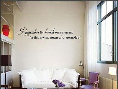 REMEMBER TO CHERISH Vinyl Wall Art Decal Words Lettering Sticker Home Decor 24