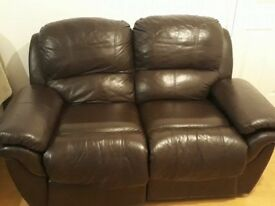 Leather 2 seater / recliner