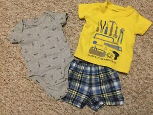 Like new (washed & worn once) boys 3 m Carter's outfit sets