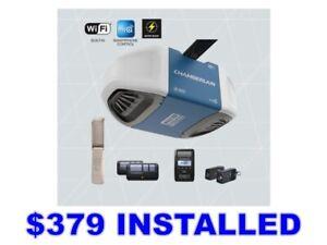 INSTALLED $379 Chamberlain 1.25HP Belt Garage Door Opener WiFi