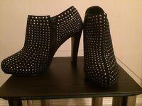Ladies black stud boots
