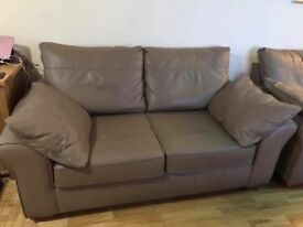 ***REDUCED*** NEXT PAIR OF LEATHER SOFAS, TO INCLUDE A FREE CREAM LEATHER FOOTSTOOL, IMMACULATE COND