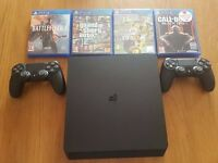 PLAYSTATION 4 500GB, 2 CONTROLLERS, 4 GAMES, WARRANTY