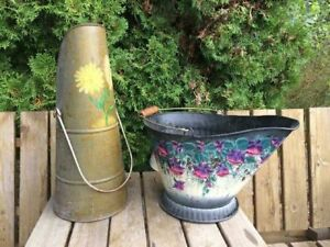 Hand-painted Coal Pail