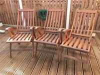 Three Solid Teak Recliner Garden Chairs