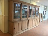Large antique pinewood display & storage unit