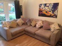Fabric corner sofa, armchair and large footstool