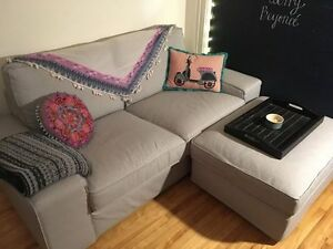 IKEA KIVIK loveseat couch and matching storage footstool