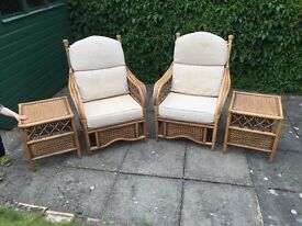 Wicker Furniture - 2 chairs 2 tables