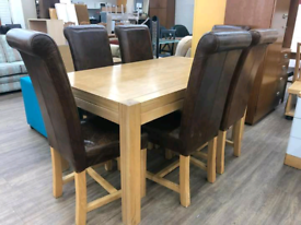 Solid oak dining table with 6chairs