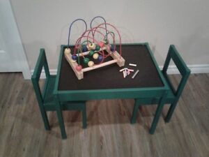 Painted kids CHALKOARD table and  2 chairs