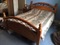 Pine Double Bed with Black Metal Detail