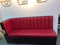 RED LEATHER SOFAS - GOOD CONDITION