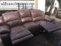 Brown leather reclining sofa