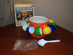 MCM Vintage Retro Jeanette Glass Co Slick & Sassy Punch Bowl Set