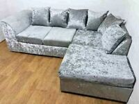 Brand new crushed velvet fabric with free matching footstool