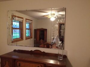 Antique 3 Panel Etiched Mirror