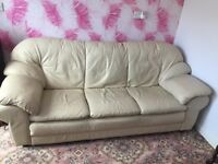 Cream leather used sofa, armchair & foot stool (FREE TO COLLECTOR)