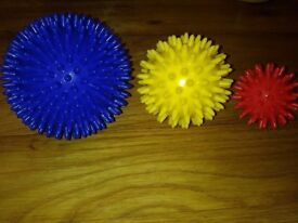 Three spiky massage balls for stress,pain and tension relief