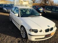 2003 BMW 3 Series **Compact**White**Full Service History**Long MOT**TOUCH SCREEN DVD & SAT NAV**