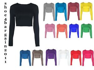 LADIES-CREW-NECK-LONG-SLEEVE-CROP-TOP-T-SHIRT-TOPS-WOMENS-TOP-8-14