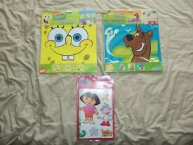 Brand new self adhesive wall art stickers-Dora-Scooby doo-Spongebob-