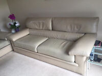 GORGEOUS ITALIAN CREAM LEATHER SUITE SETTEE SOFA 2 PIECE TWO SEATER AND THREE SEATER NEUTRAL COLOUR