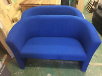2 seater tub style fabric sofa (blue)