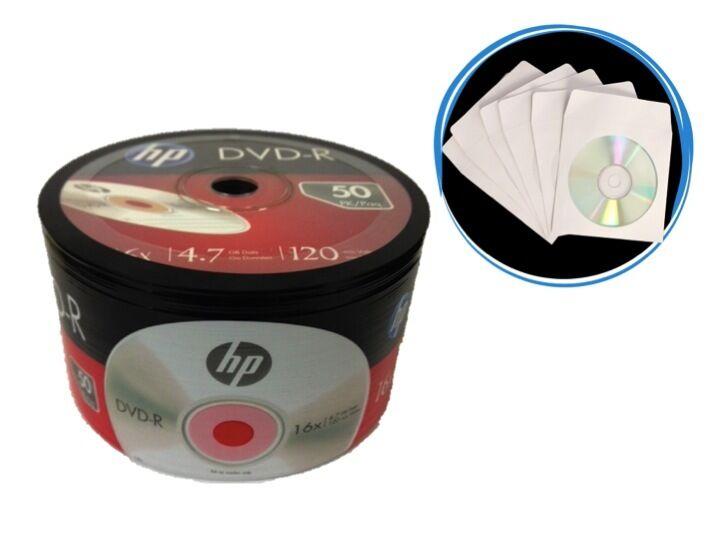 100-pack (50-pk X 2) Hp 16x Logo Blank Dvd-r Dvdr Disc + 100 White Paper Sleeves