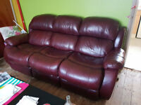 Super Leather 3 Seater Manual Recliner + 2 chairs