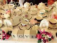 Vintage china hire. Crockery for weddings and Special occasions.
