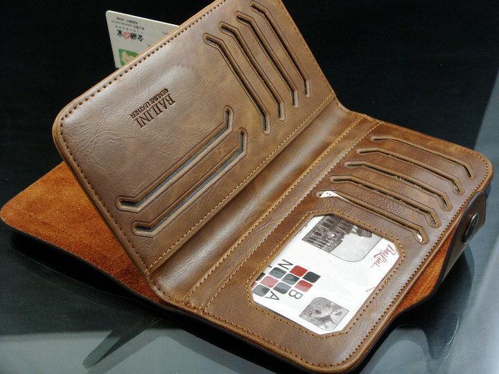 Men's Leather Wallet Bifold ID Card Holder Checkbook Long Clutch Billfold Purse 7
