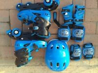 Inline Skates ADJUSTABLE SIZES for children UK 1-4 full set in perfect condition