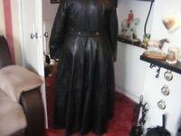 ladies designer full length leather coat