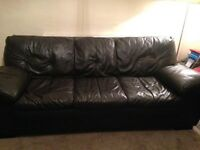 DFS leather sofa. Chocolate brown. 3 and 2 seater