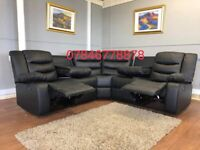 Black or grey leather recliner corner sofa