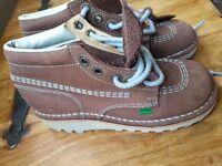 Boys Girls Brand New Size 2 EUR 34 Kickers - High Kick boot Chocolate brown