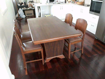 1947 Antique Wooden Dining Table And Chairs