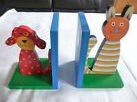 Marble House brightly coloured wooden money box and pair of book ends